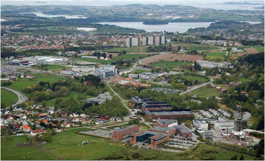 Photo: The Ullandhaug area with the University in Stavanger, the NPD and IRIS.